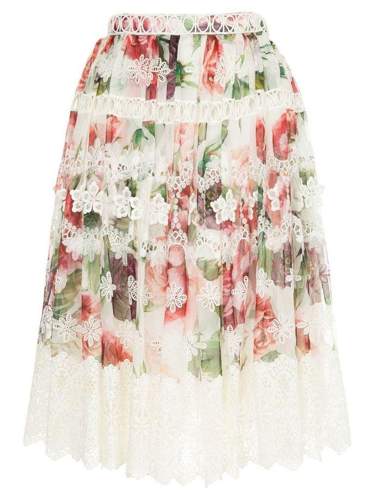 Dolce & Gabbana peony print midi skirt - White