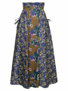 Teija floral panel skirt - Blue