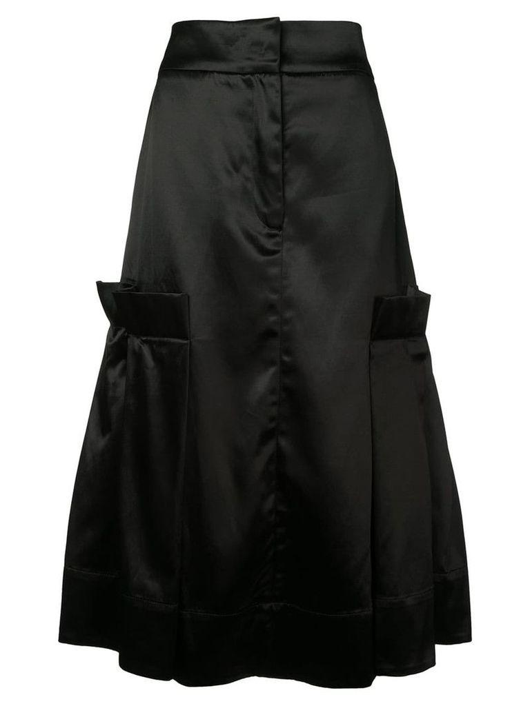 Phoebe English satin flared skirt - Black