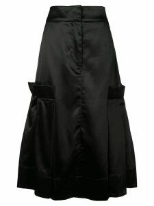 Phoebe English satin flared skirt - Black