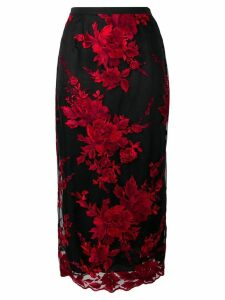 Antonio Marras floral embroidered pencil skirt - Black