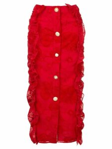 Mother Of Pearl ruffled pencil skirt - Red