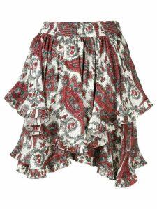 Isabel Marant paisley printed ruffle skirt - White