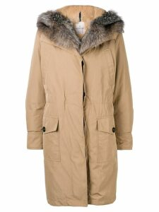 Moncler zipped hooded parka coat - Neutrals