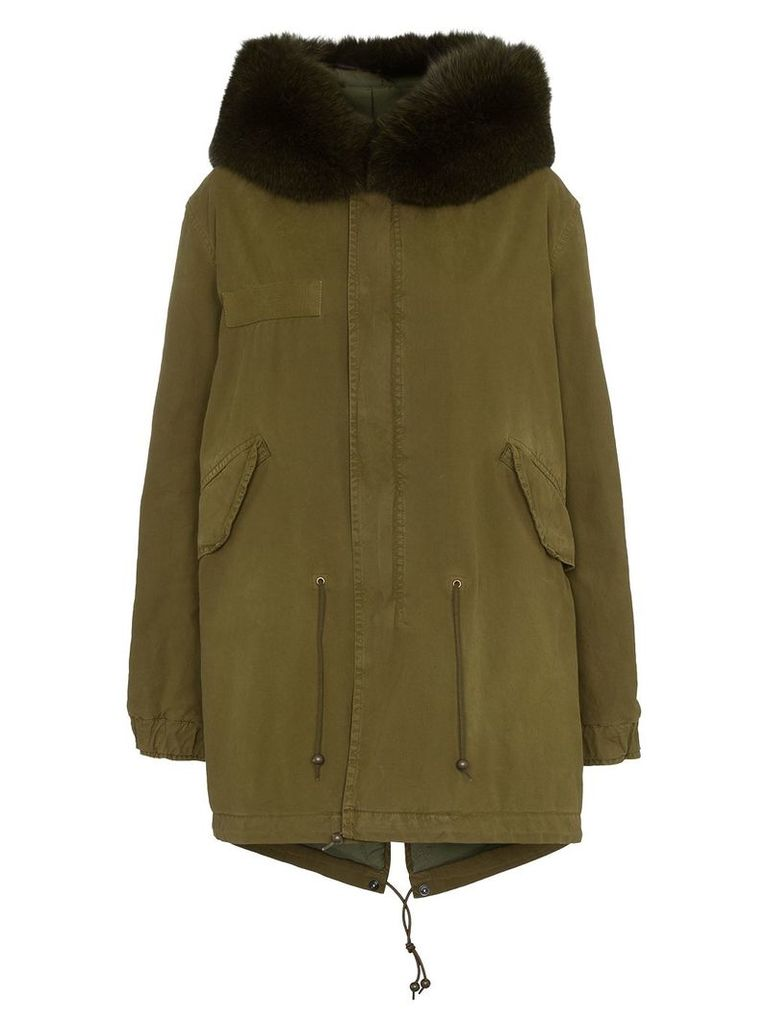 Mr & Mrs Italy Hooded fur trim cotton parka - Green