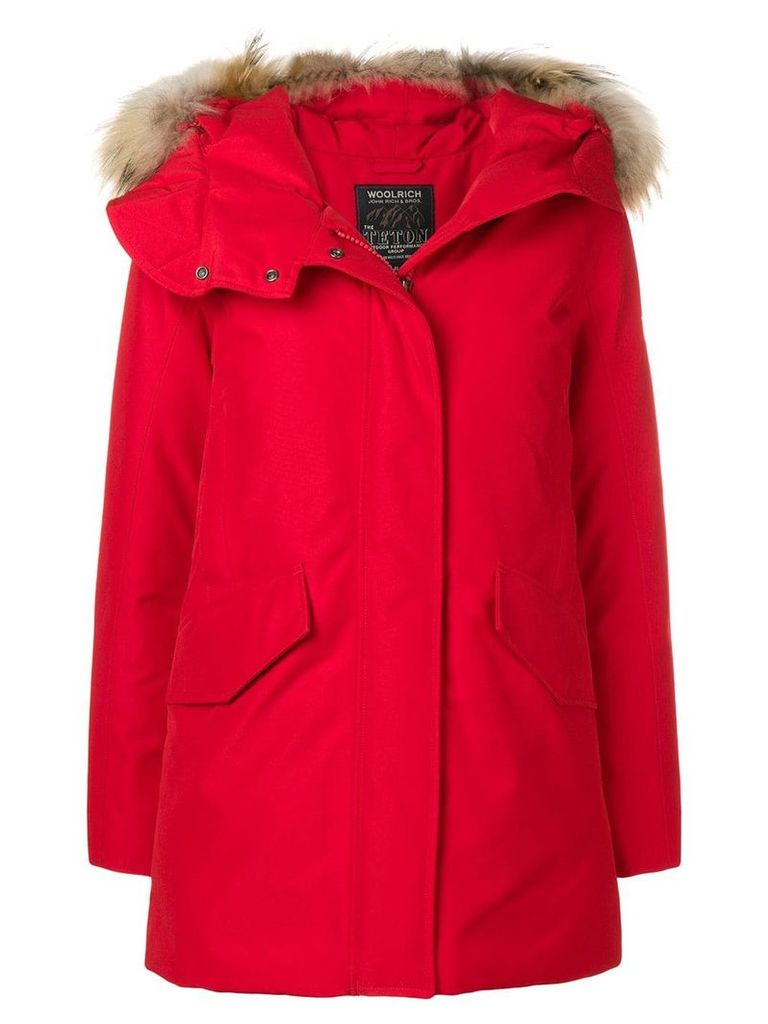 Woolrich raccoon fur trimmed hood padded coat - Red