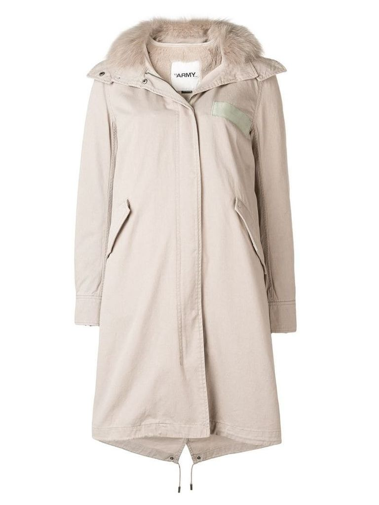 Yves Salomon Army long hooded parka - Grey