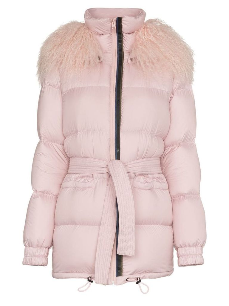Mr & Mrs Italy Mongolian fur collar feather down puffer coat - Pink