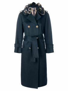 Thom Browne 3D Floral Embroidery Mackintosh Trench Coat - Blue