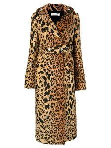 Victoria Beckham leopard print trench coat - Brown
