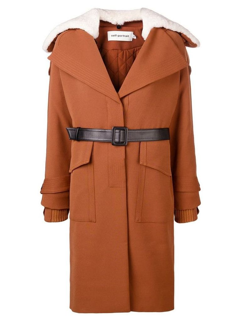 Self-Portrait oversized collar trench - Brown