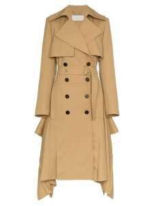 Chloé Asymmetric hem belted wool trench coat - Brown
