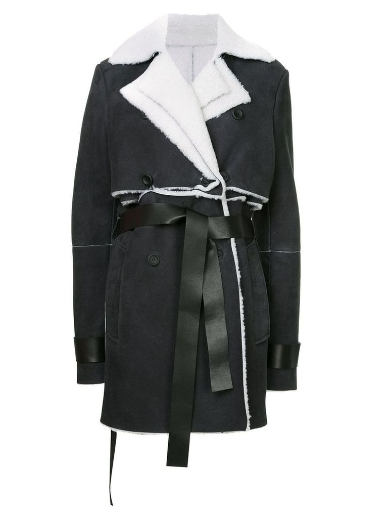 Unravel Project shearling double trench coat - Black