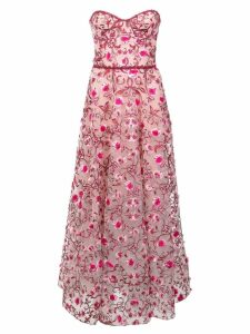 Marchesa Notte floral embroidered dress - Pink
