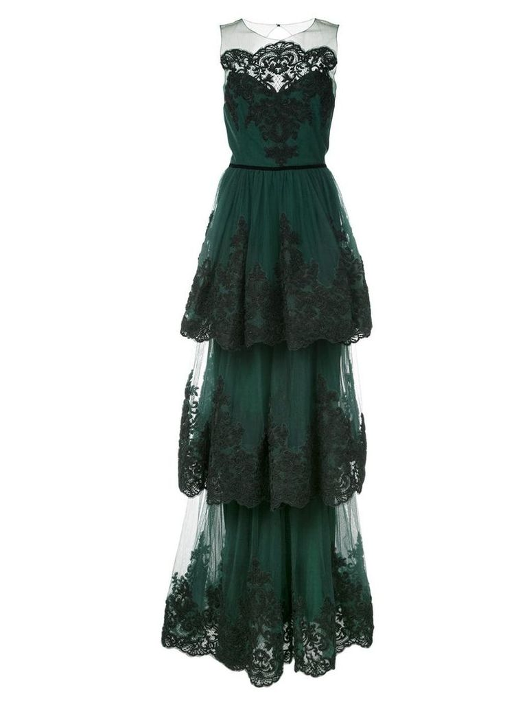 Marchesa Notte soutache embroidered tiered gown - Green