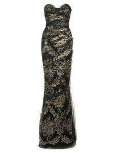 Marchesa fitted net dress - Black