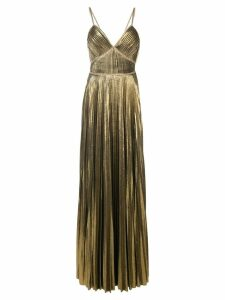 Marchesa Notte metallic pleated gown - Yellow