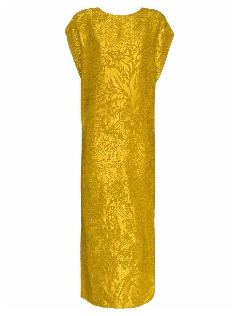 Poiret jacquard backless silk dress - Yellow