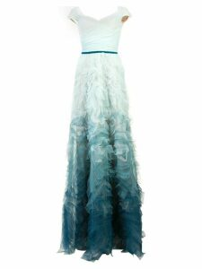 Marchesa Notte fitted ombré gown - Blue