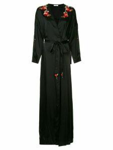Vilshenko silky poppy trim robe gown - Black