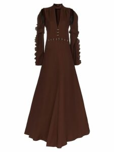 Chloé Embellished waist silk gown - Brown
