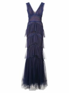 Marchesa Notte tiered chantilly lace gown - Blue