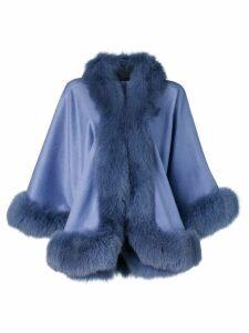 Liska fur-trimmed cape - Purple