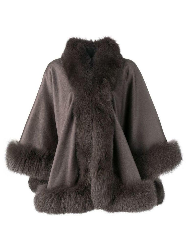 Liska fur-trimmed cape - Green