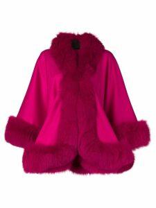 Liska fur-trimmed cape - Pink