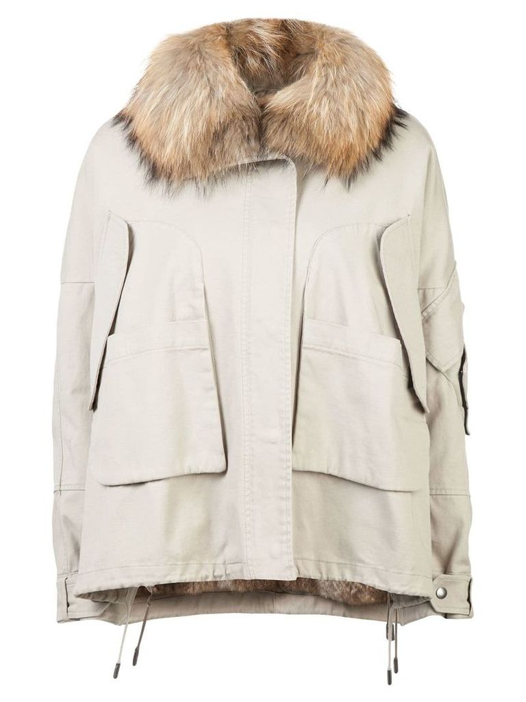 Yves Salomon fur collar zipped jacket - Neutrals