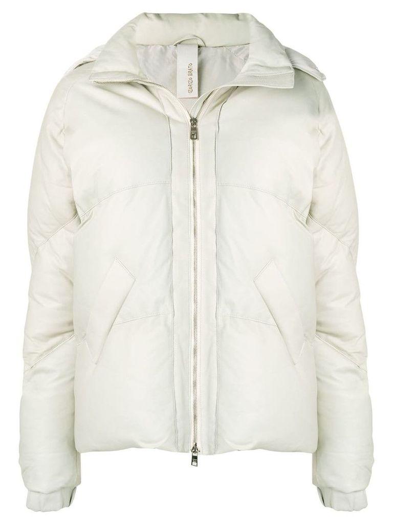 Giorgio Brato leather down jacket - Neutrals
