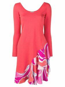 Emilio Pucci Rivera Print Ruffled Wool and Silk Dress - Orange