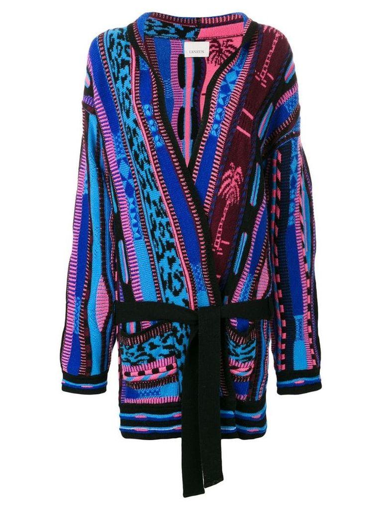 Laneus cashmere pattern cardi-coat - Blue