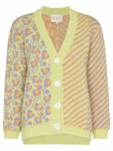 Cap Grace patterned kid mohair and alpaca cardigan - Yellow