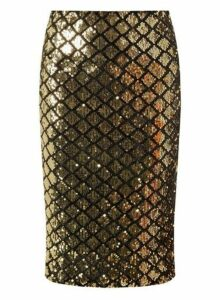 Womens Gold And Black Diamond Sequin Pencil Skirt, Gold