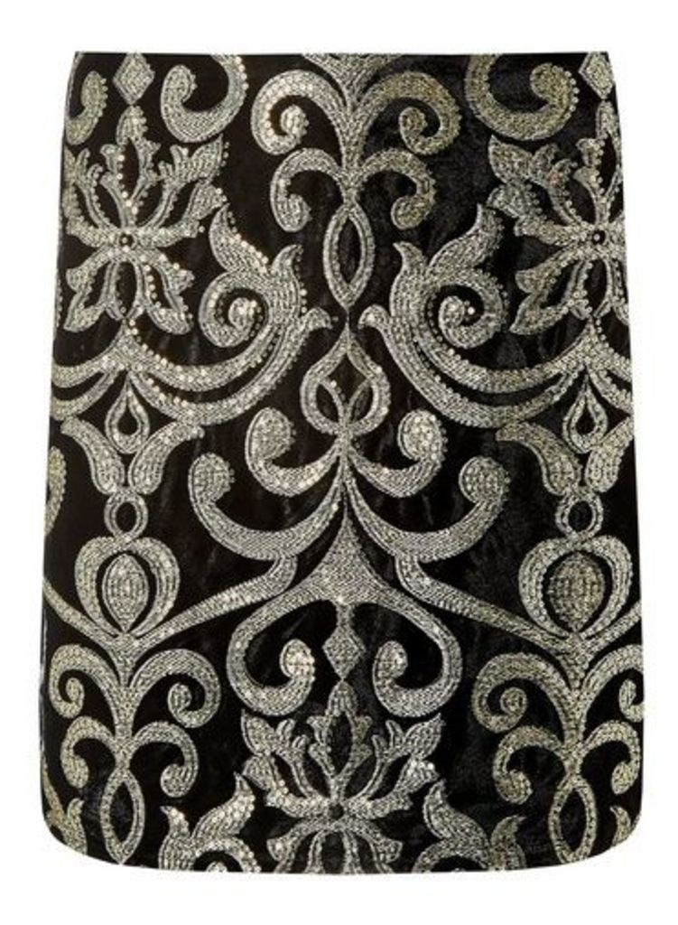 Womens Gold Brocade Velvet Skirt- Black, Black