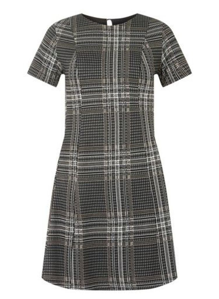 Womens Grey Checked Jersey Fit And Flare Dress- Grey, Grey