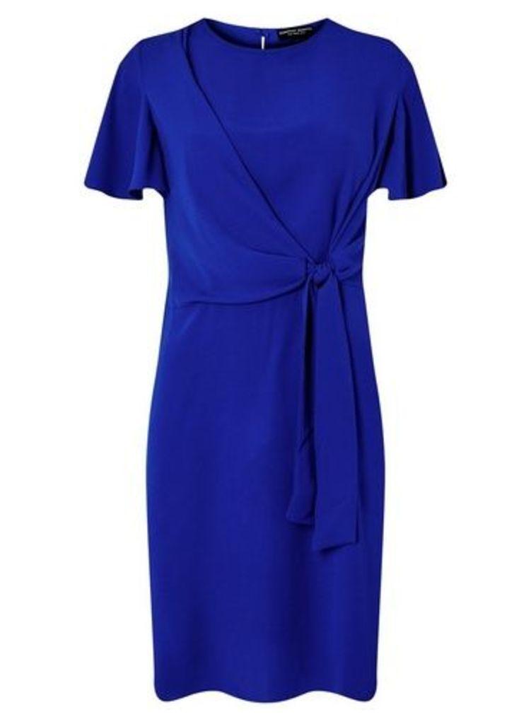 Womens **Cobalt Tie Front Shift Dress- Cobalt, Cobalt