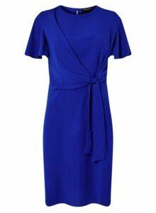 Womens **Cobalt Tie Front Shift Dress, Cobalt