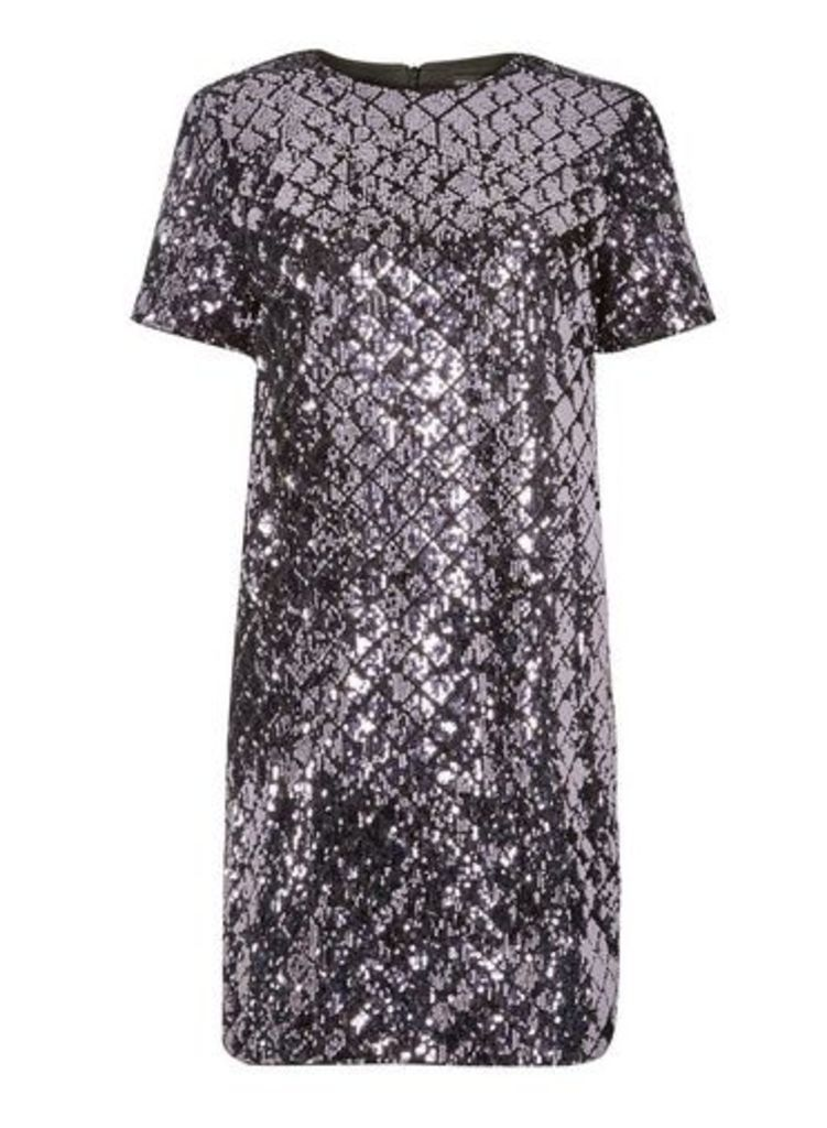 Womens **Purple Diamond Sequin Embellished Shift Dress- Purple, Purple