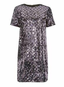 Womens **Purple Diamond Sequin Embellished Shift Dress- Purple, Purple