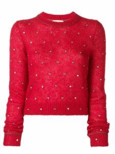 Nº21 crystal embellished jumper - Red