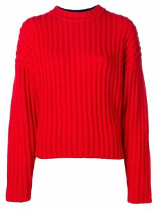 Jil Sander Navy long-sleeve fitted sweater - Red