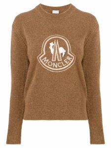 Moncler lace embellished logo jumper - Brown