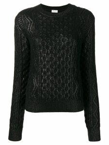 Saint Laurent lamé aran knitted sweater - Black