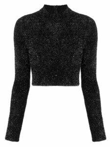 Versus faux fur cropped sweater - Black