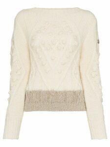 Moncler stripe-hem wool and alpaca blend jumper - White
