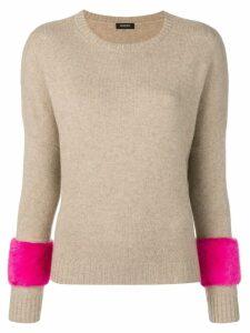 Simonetta Ravizza panelled sleeve sweater - Brown