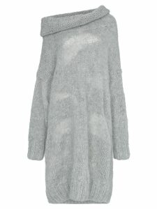 Poiret Off-shoulder mohair and alpaca sweater dress - Grey