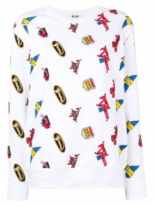 MSGM embroidered patch sweatshirt - White